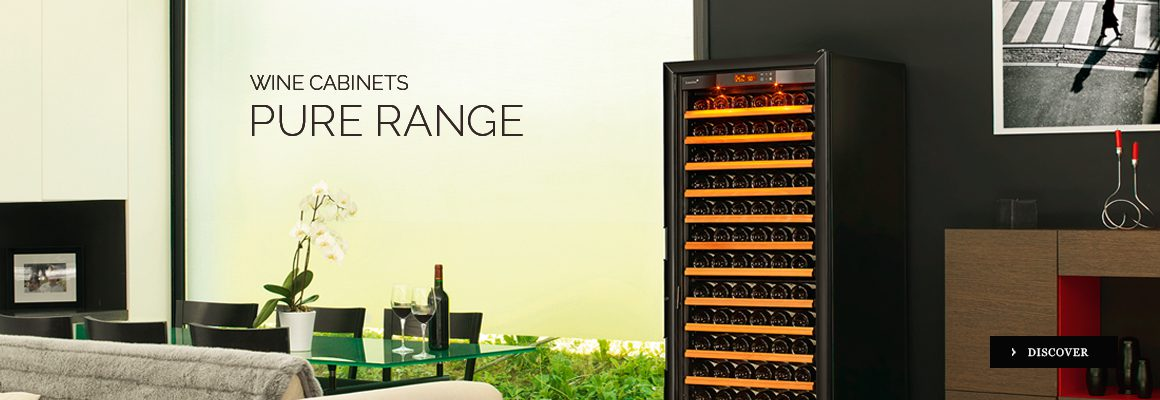A range of wine cabinets fridges - a full range - make your choice between 3 sizes/capacities, 3 functionalities, 5 doors, 2 inner equipments, 2 colors