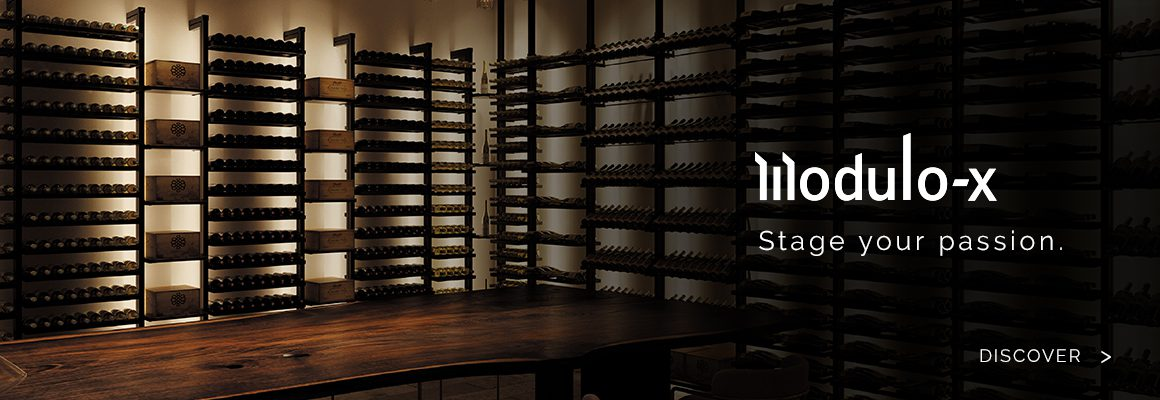 Wine cellar storage in metal, steel and aluminum. Exceptional house and apartment interior design, wine space layout, wine display cabinet, wine wall, wine cellar.